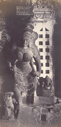 Madura. The Great Pagoda [Minakshi Sundareshvara Temple]. Carved pillars in portico near the tank